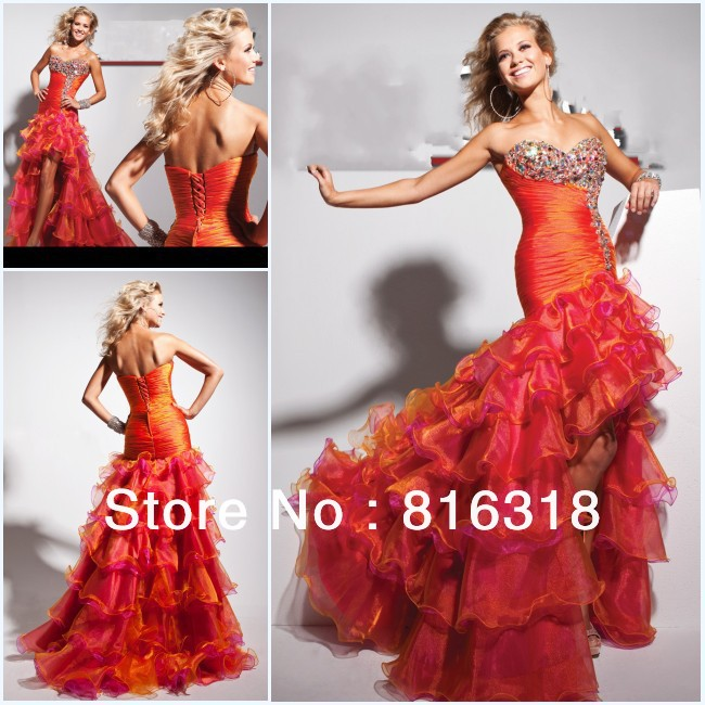 Free Shipping 2013 New Design A-Line Sweetheart Pleated Beaded Red Organza High Low Prom Dress 100% Guarantee Satisfaction