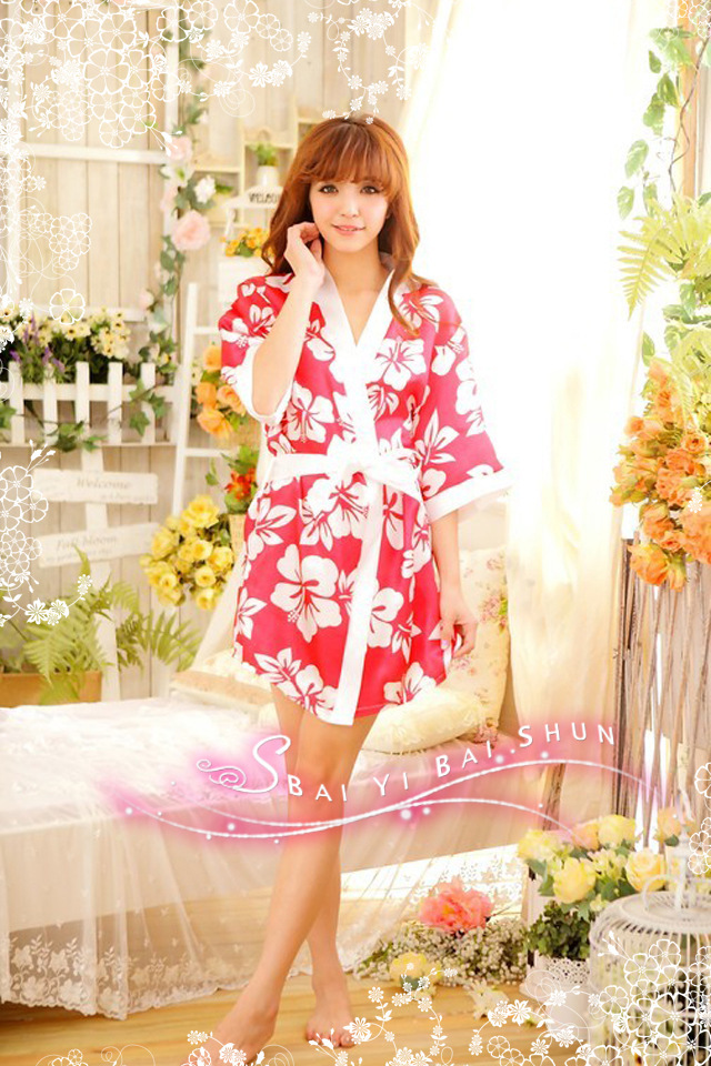 Free Shipping 2013 New Design Fashion Lady Robes Warm And Soft XXXL Plus Size Flower Print Women Sleepwear