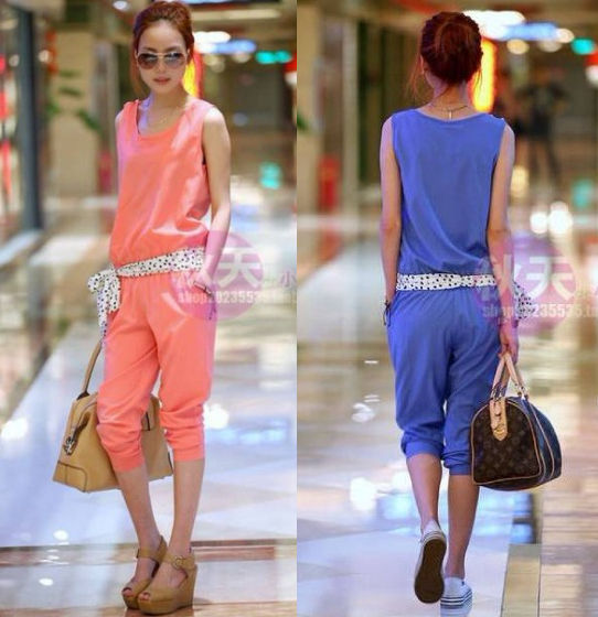 Free shipping 2013 new design sleeveless fashion casual jumpsuit with belt.Color: blue, pink. Size: M, L
