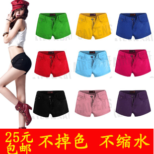 Free Shipping 2013 New Design Summer Fashion Womens Low-waist Black Red Blue Pink Green Yellow Denim Shorts