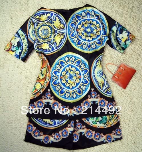 Free Shipping 2013 New Dgital Pinting Two Piece Set Women Dress S M L
