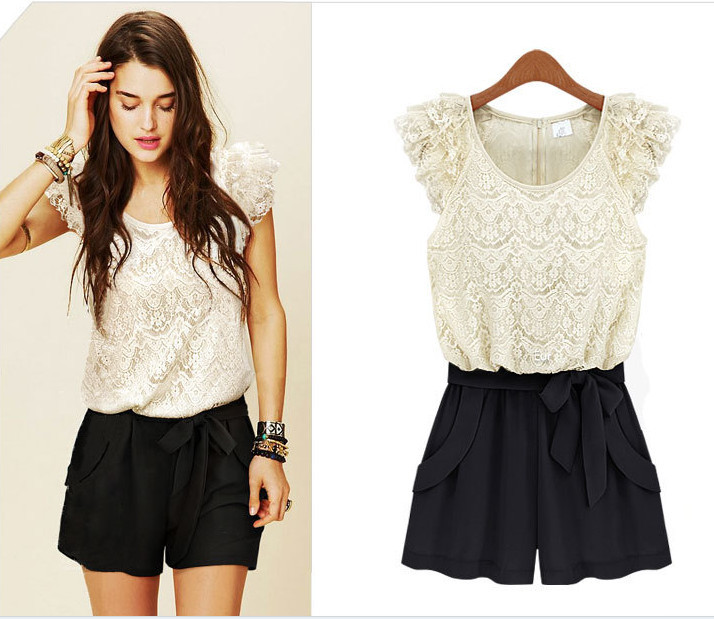 Free shipping 2013 new explosion models Jumpsuit lace openwork stitching hit the color lady Siamese culottes