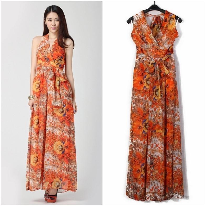 free shipping!2013 new fashion bohemian dress printed printed floor long pants dress7107