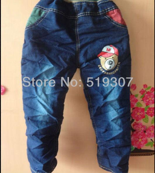 Free Shipping 2013 New Fashion Causal Spring/ Autumn Kids Denim Pant  Bear Carton Letter Purplish Blue (4PCS/LOT) Jean Wholesale