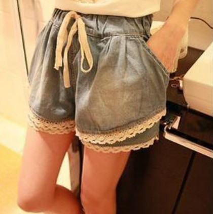 Free Shipping 2013 New Fashion Denim Shorts Women Lace Patckwork Elastic Waist Jeans Shorts Casual Wear IRIS Knitting DK-002