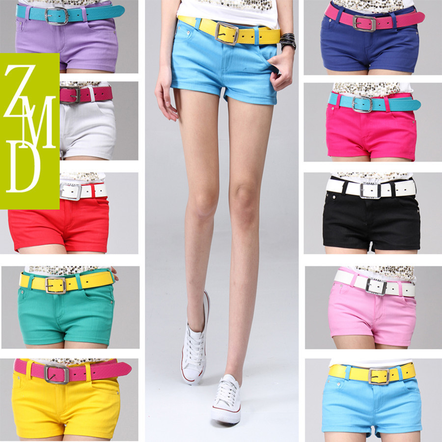 Free shipping 2013 New fashion denim shorts women solid colour short pants hot Wholesale shorts women summer new candy-colore
