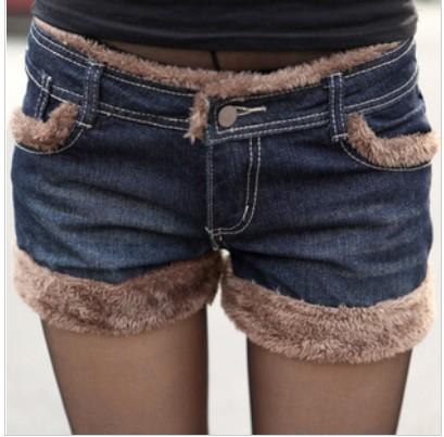 Free Shipping 2013 New Fashion Lamb Fur Denim Shorts Women Big Pockets Winter Jeans Shorts Casual Wear IRIS Knitting DK-005