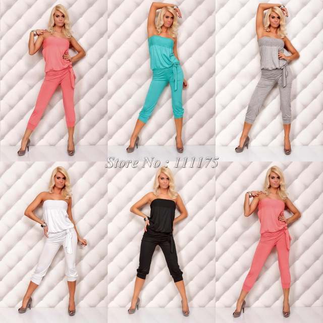Free shipping 2013 New Fashion Rompers Five Colors Casual Sleeveless Jumpsuits For Women costumes overall dress 4005