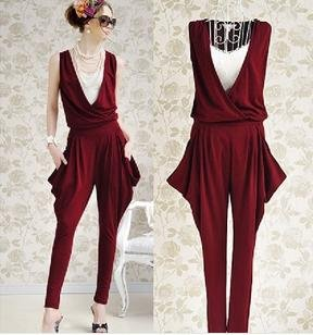 Free shipping ! 2013 New harem womens jumpsuits.Women Fashion Sleeveless Romper Long Jumpsuit
