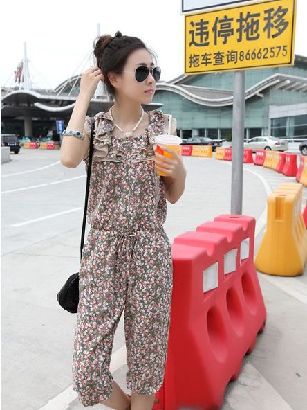 Free Shipping 2013 New Hot Sale Ruffles Collar Floral Printing Sleeveless Chffion Jumpsuit YL052808GE