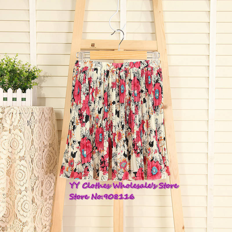 Free shipping,2013 New hot,women casual retro print pleated skirt wild summer skirts,ladie half dresses,1pcs/lot,X2985