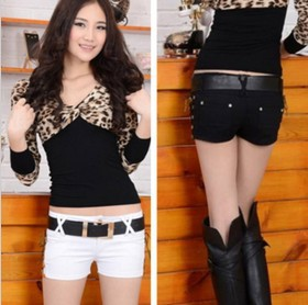 Free Shipping 2013 New In Korean Style Women's Shorts Casual Fashion Slim Solid Color Sexy Women's Shorts With Belt