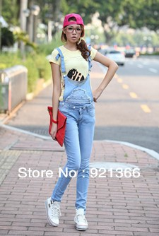 Free Shipping 2013 New Jumpsuit Jeans for Ladies and Romper Denim with removable belt for Ladies