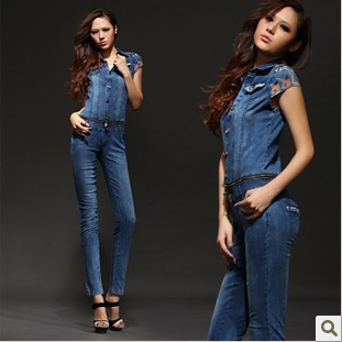 Free shipping 2013 new short-sleeved tight was thin denim denim overalls Ms. Siamese pants cowboy suit-G287