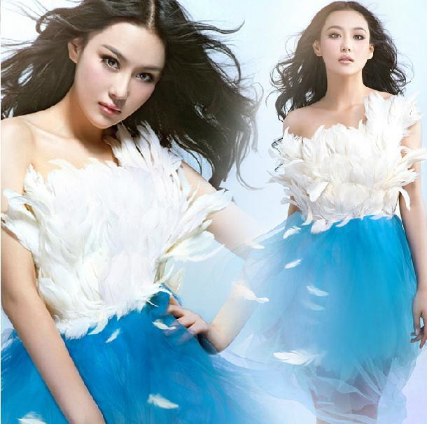 Free Shipping! 2013 New Style Fashion Sweet Women Angle Feathers Tube Top Organza Collision Tutu Party Celebrity Dress 0557#