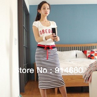 Free shipping ! 2013 New style Sweet Stripe two-piece Siamese dress Two color Free size