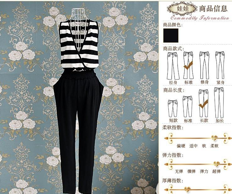 Free Shipping! 2013 New Summer Fashion Sleeveless Designer Stylish Thin Cotton striped Loose  Jumpsuits with Belt