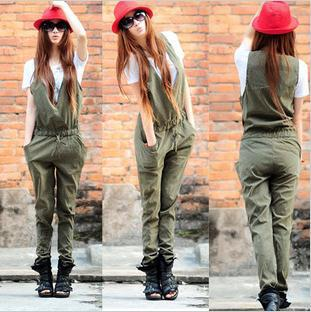 Free shipping , 2013 New Women 's Trendy Army Green European Style Slim Cool Jumpsuits , A927
