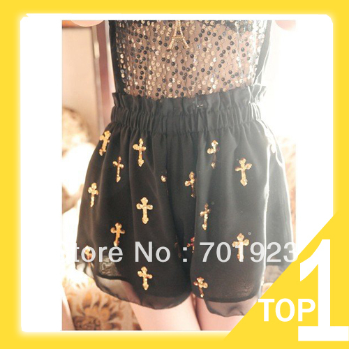 Free Shipping,2013 NEW Women Shorts, Lady Fashion Summer Sexy Cross Chiffon Cool Short Pants Y6150