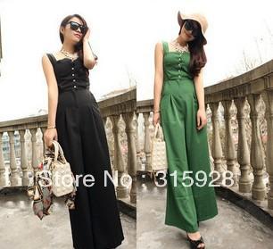 Free shipping 2013 new women western style european style green wide leg Chiffon Jumpsuit A351 piece pants