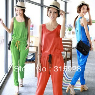 Free shipping 2013 new women western style european style Slim sleeveless round neck Jumpsuit A335 piece pants