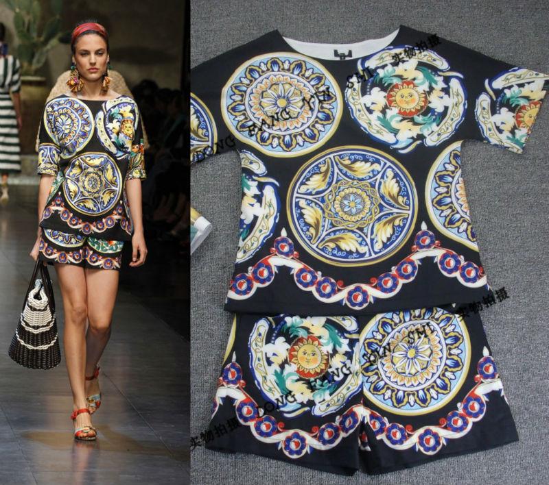 Free Shipping 2013 Newest Runway Vintage Digital Printing Sleeveless Silk Dress / Suit