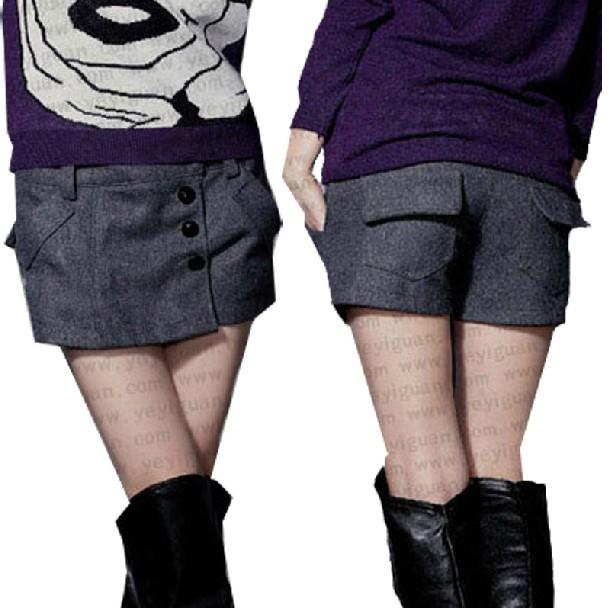 Free Shipping 2013 plus size Women woolen shorts ,autumn winter Ladies boot low waist trousers S-3XL