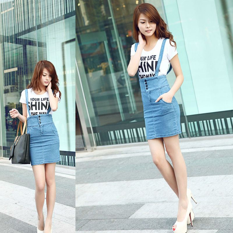 Free Shipping 2013 Popular Vintage Placketing Denim Slim Elasticity  Knee-length  Ladies' Overalls Dress