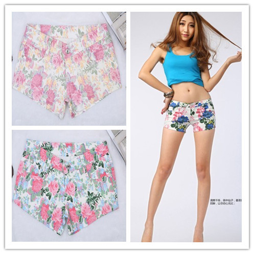 Free Shipping 2013  Rose flowers, high women 3 color  waist shorts Stretch denim shorts s m l xl d989912