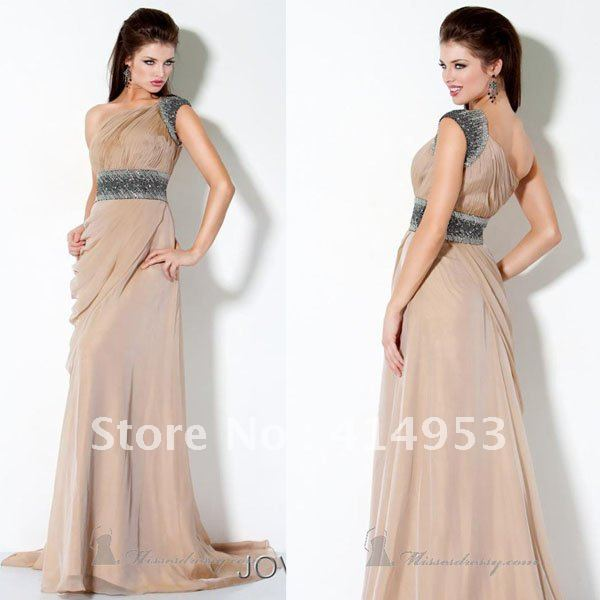 Free Shipping 2013 Sexy One Shoulder Crystal Beaded Chiffon Ruched Floor Length Elegant Evening Dresses