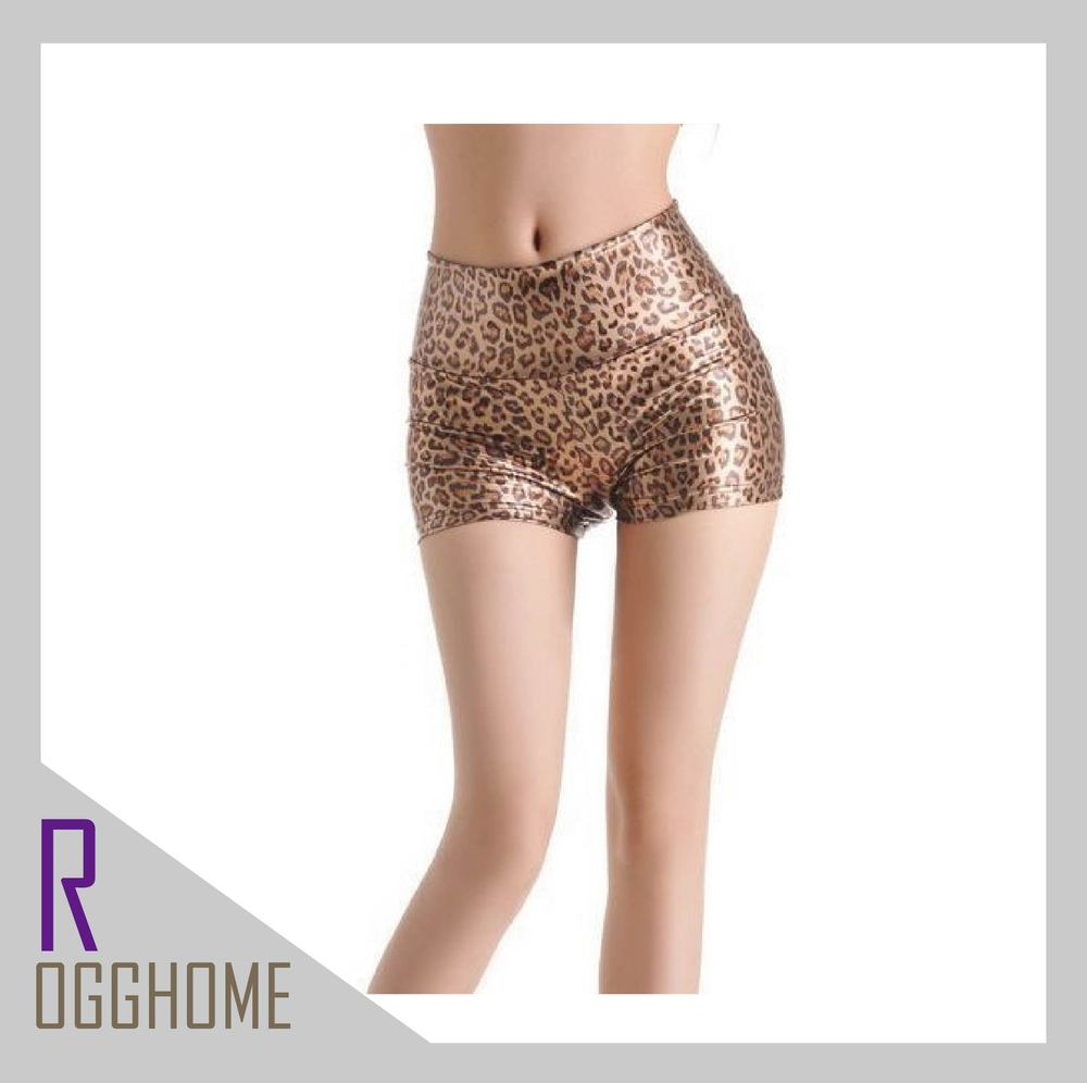 Free shipping 2013 Shorts Sexy PU Leopard grain Black English label Good quality Woman pants 2Color 3Size RG1206032