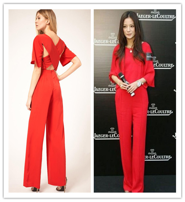 Free shipping !2013 Slim Women Fashion boot cut Romper long Jumpsuit 2colors Black/Red