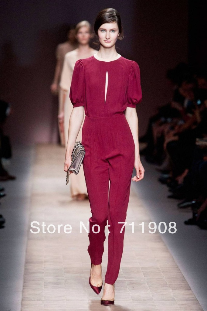 Free Shipping 2013 spring and autumn Newest Runway New Arrival Super star Style jumpsuits red green