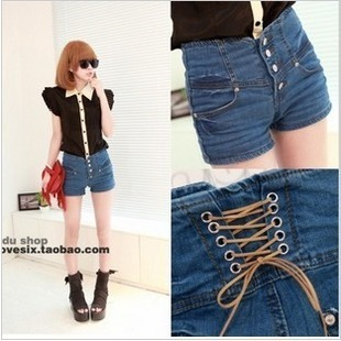 Free shipping 2013 spring and summer buckle backlace denim shorts,fashion sexy slim shorts for women