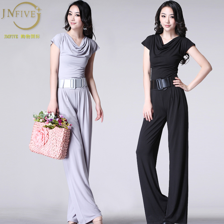 Free Shipping 2013 spring and summer new European and American big size women Slim wide leg Jumpsuit