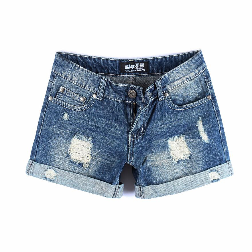 Free Shipping !2013 spring and summer new Korean yards Ms. loose curling hole in denim shorts
