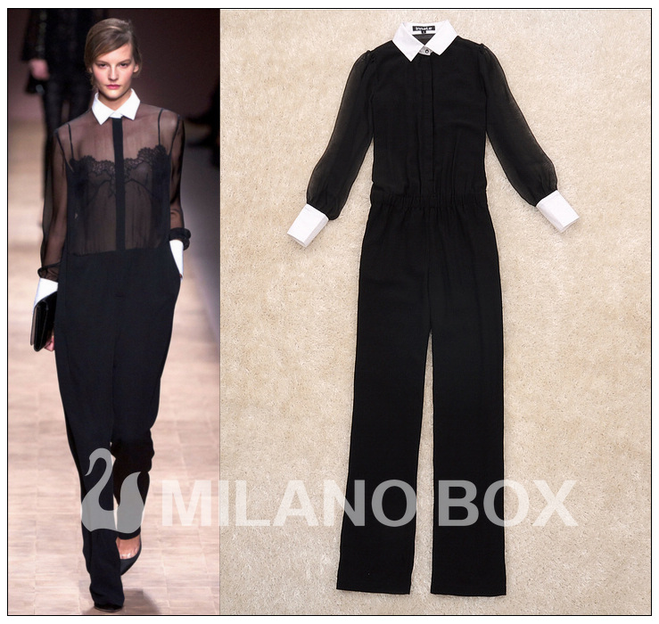 Free shipping 2013 Spring and Summer Women Jumpsuit Sexy See-through Rompers Lace Stitchin Black Colorg
