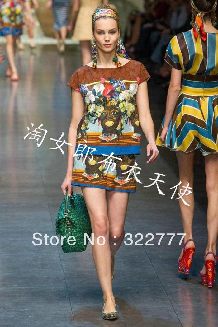 Free shipping 2013 spring and summer women's top fashion HOT sale retro silk print twinset include shirt and shorts