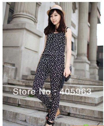 Free shipping 2013 Spring ladies wave point retro zipper vest conjoined pants jumpsuits long pants dropship
