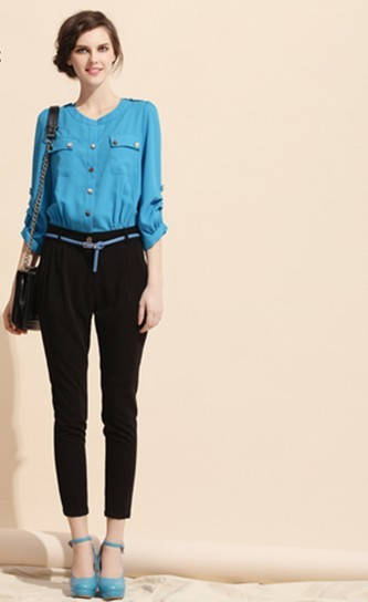 Free Shipping 2013 Spring New Arrival Superior Quality Deft Design Fashion Office Lady Chiffon Rompers/Leisure Trousers