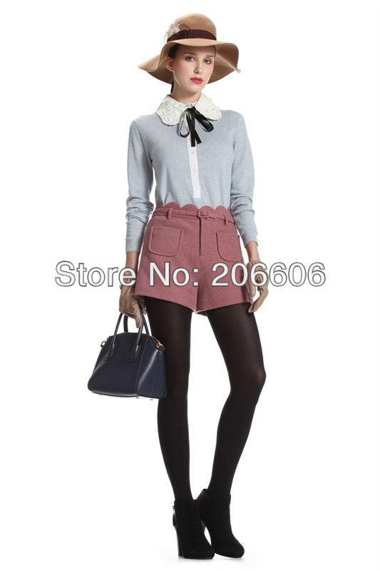 free shipping 2013 spring new fashion woman shorts solid woolen ladies shorts pants