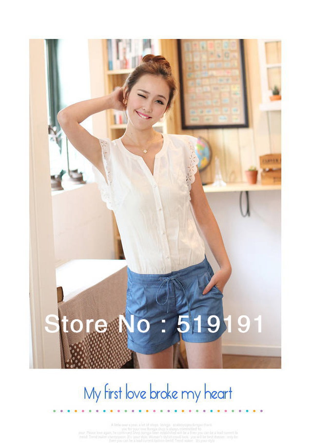 Free shipping 2013  spring summer denim patchwork  jumpsuits overall,women shorts,women jumpsuits SIZE M,L XL