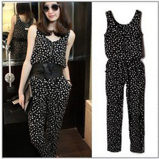 Free shipping 2013 Spring Summer New Fashion Casual Long Pants Sleeveless Loose Dot  Jumpsuits And Rompers Overalls For Women