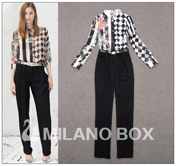 Free shipping 2013 Spring/Summer Newest Europe Star Fashion OL Elegant Art Fan Style Stripes Printing Jumpsuit Pants RD130164