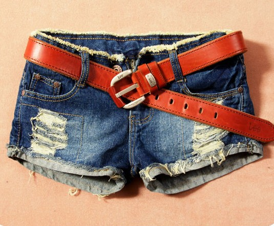 Free Shipping 2013 Spring  women's all-match casual denim shorts  hole jeans Short jeans without belt