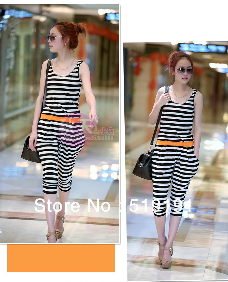 Free shipping 2013   summer cotton black-white striped loose jumpsuits overall,women jumpsuits ,leisure suit