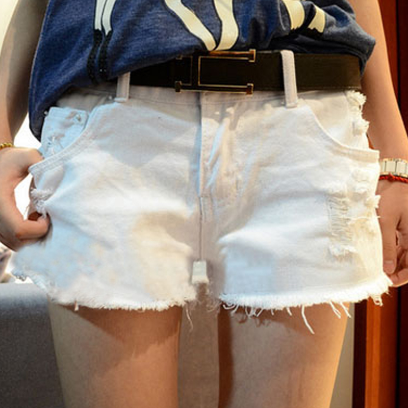 Free Shipping 2013 Summer Fashion White Denim Jeans Shorts All-match Casual Shorts for Women