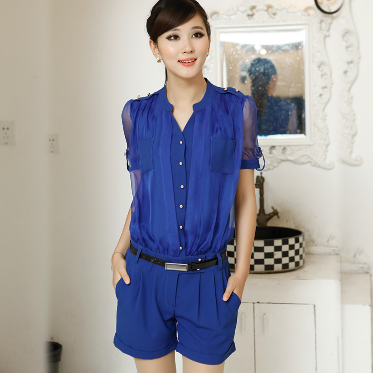 Free Shipping 2013 Summer Fashion Women OL Jumpsuit,  Plus Size Slim Women Fashion Romper long S M L XL XXL