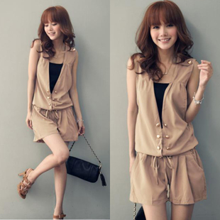 Free shipping 2013 summer new Korean ladies double-breasted drawstring sleeveless V-neck piece shorts jumpsuit
