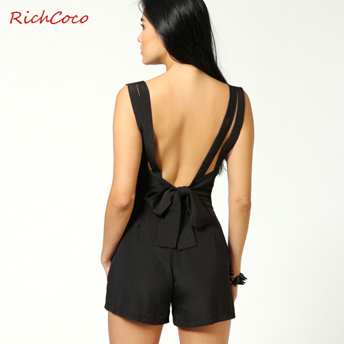 Free shipping,2013 summer new,Women's chiffon backless black sexy jumpsuit short pants,back bow V-neck hot overall trousers